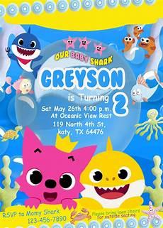 Baby Birthday Party Invitations Baby Shark Birthday Invitation Oscarsitosroom