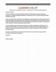 Paralegal Cover Letter Samples Best Paralegal Cover Letter Examples Livecareer