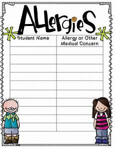 Allergy Chart For Child Care The 2 Teaching Divas June 2014