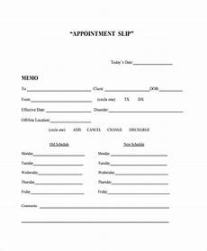 Appointment Cards Template Sample Appointment Slip Template 7 Free Documents