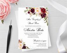 invitaciones de boda invitacion boda para editar imprimir color tinto