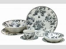 Churchill China Black Toile Dinnerware Set   Black, white