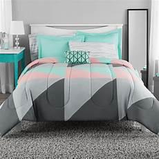 mainstays grey teal bed in a bag bedding set king ebay