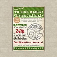 Christmas Carol Invitation Wording Printable Karaoke Christmas Party Invitation Carol 20 00