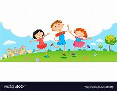 Children Playing Background Children Play Clouds Design Over Sky Background Vector Image