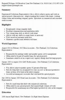 Collection Resume Examples Collections Representative Resume Template Best Design