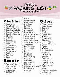 Packing For Vacation Checklist Packing List For A Beach Vacation Free Printable