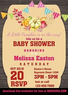 Free Birthday Invitation Template Free Pumpkin Baby Shower Invitation Templates Free