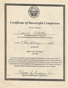 Certificate Of Successful Completion David Stephen Watts Resume Caregiver Training