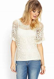 forever 21 contemporary crochet lace knit top in white lyst