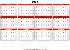 Free Printable Yearly Calendars 2020 Blank Printable 2020 Yearly Calendar On We Heart It