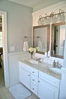 One Light Fixture Over Two Mirrors Amaing Bathroom Makeover Love The Idea To Cover A Large