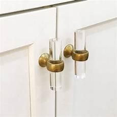 cabinet knob lucite and brass drawer pulls lucite