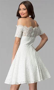 shoulder white lace graduation dress promgirl