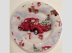 Vintage Red Truck Christmas Plate Susan Winget Christmas