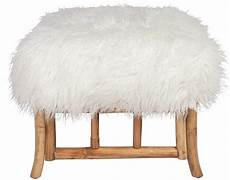 Esituro Ottoman Padded Footstool Fur Pouffe Chair by Faux Mongolian Fur Ottoman Small Mongolian