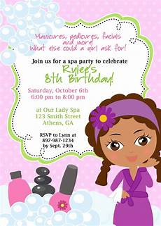 Spa Party Invitation Wording Diy Sassy Spa Party Invitation African American By Cohenlane