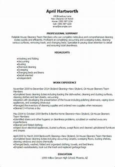 House Cleaner Resume Samples 1 House Cleaners Team Members Resume Templates Try Them