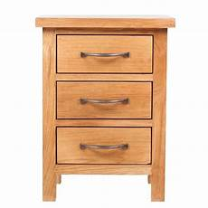 vidaxl solid oak wood nightstand with 3 drawers bedside