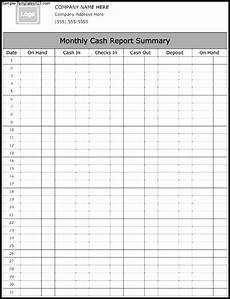 Report Cash Monthly Cash Report Summary Template Sample Templates