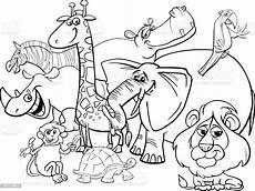 Animals Coloring Cartoon Safari Animals Coloring Page Stock Illustration