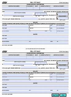 California Bill Of Sale Car Free California Dmv Bill Of Sale Reg 135 Vehicle