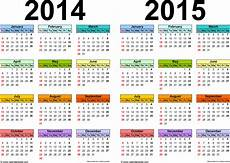 Month By Month Calendar 2015 2014 2015 Calendar Free Printable Two Year Excel Calendars