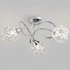 Ball Ceiling Light Semi Flush Ceiling Light Gem Ball 3 Light Chrome
