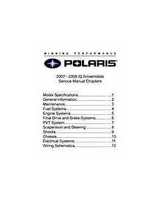 2007 2008 Polaris Iq Snowmobiles Service Manual 9 95