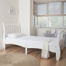 home treats single sleigh bed in white solid wooden frame