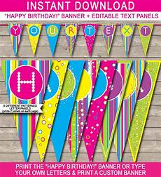 Birthday Sign Template Colorful Banner Template Happy Birthday Banner