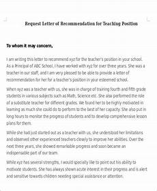 Request For A Letter Of Recommendation Free 6 Sample Letter Of Recommendation For Teaching