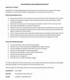 Advertising Executive Job Description 17 Marketing Job Description Templates Pdf Doc Free