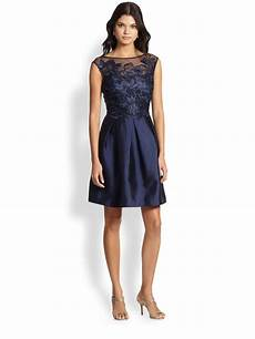 lyst unger embroidered lace satin dress in blue