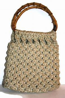 vintage macrame purse with bamboo handle