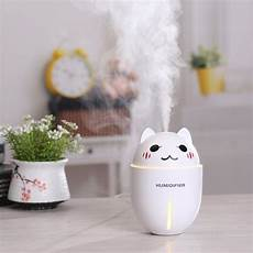 Cat Night Light Usb Ultrasonic Cat Humidifier With Led Night Light Amp Usb Fan
