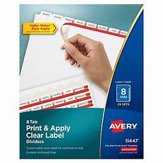 Avery Lable Maker Avery Index Maker Clear Label Dividers 8 Tab Letter Size