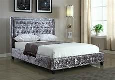 silver crushed velvet upholstered designer bed frame with