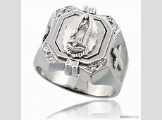 Sterling Silver Men's Immaculate Heart of Mary Square Ring