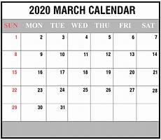 2020 Fillable Calendar Free 2020 March Calendar Printable Editable Template Blank