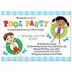 Kids Invitation Pool Birthday Party Invitation For Kids Boy And Girl On