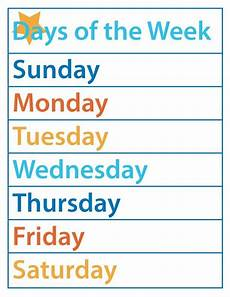 Printable Days Of The Week Chart Days Of The Week Free Printable The B Keeps Us Honest