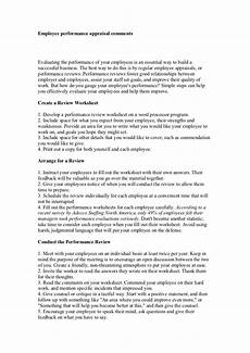 Employee Comment On Performance Appraisal Example Employee Performance Appraisal Comments