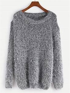 fuzzy chunky knit sweater shein sheinside