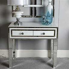 white glass mirrored 2 drawer bedroom console