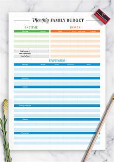 Family Budget Templates Download Printable Colored Family Budget Template Pdf