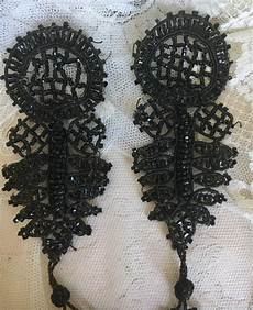 two antique jet beadwork tassels couture appliques