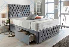 grey suede chesterfield divan bed set memory mattress