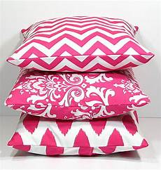 wide variants of pink accent pillows for indoor or outdoor