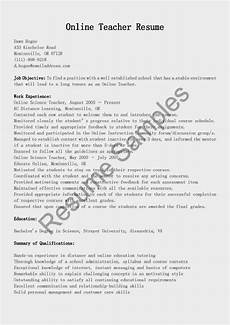 Online Instructor Resume Resume Samples Online Teacher Resume Sample